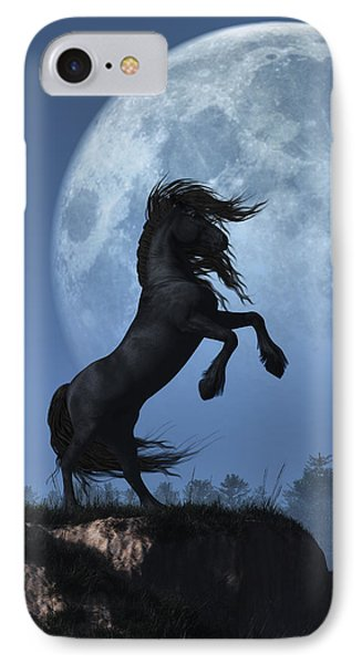 IPhone Case featuring the digital art Dark Horse And Full Moon by Daniel Eskridge