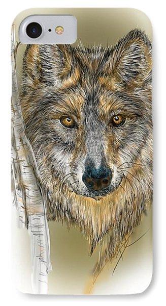 IPhone Case featuring the digital art Dark Wolf With Birch by Darren Cannell