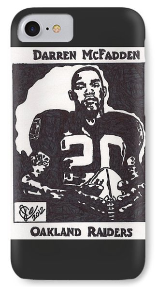 IPhone Case featuring the drawing Darren Mcfadden 2 by Jeremiah Colley