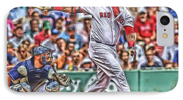 David Ortiz Boston Red Sox Oil Art 5 IPhone Case by Joe Hamilton