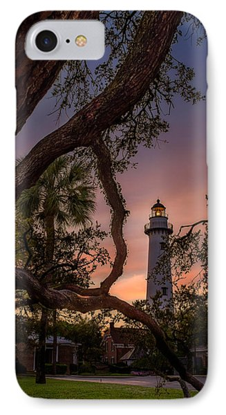Dawn At Saint Simons Lighthouse IPhone Case by Chris Bordeleau