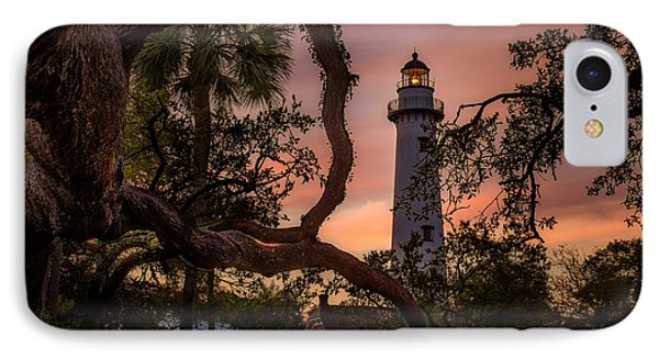 Dawn At Saint Simons Lighthouse - Horizontal IPhone Case by Chris Bordeleau