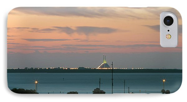 Dawn At The Sunshine Skyway Bridge Viewed From Tierra Verde Florida Phone Case by Mal Bray
