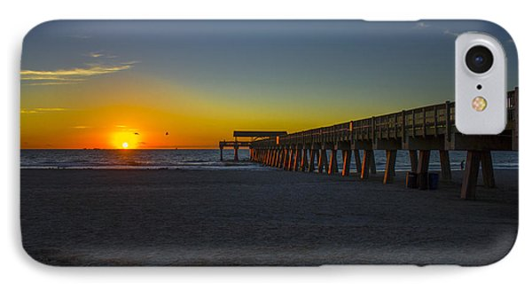 Dawn Effect Tybee Island Pier IPhone Case by Reid Callaway