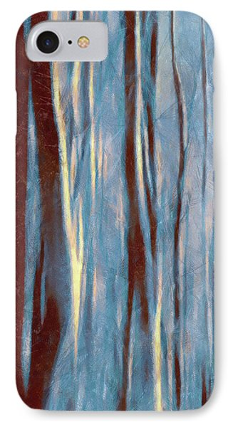 IPhone Case featuring the painting Dawn In The Winter Forest - Landscape Mood Lighting by Menega Sabidussi