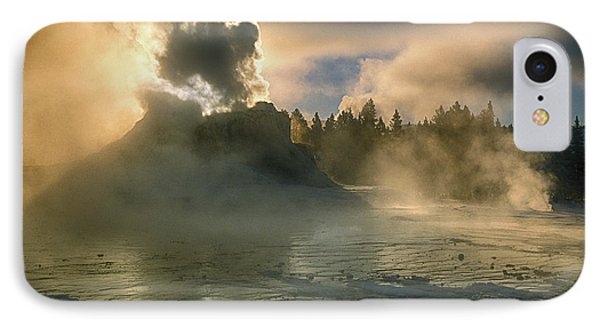 Dawn On Castle Geyser Phone Case by Sandra Bronstein