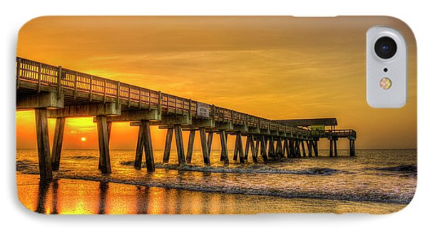 IPhone Case featuring the photograph Dawn Under Tybee Island Pier Sunrise Reflections Art by Reid Callaway
