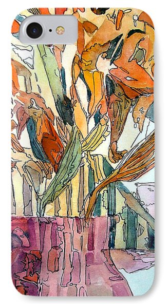 Day Lilies In A Rose Vase IPhone Case by Mindy Newman
