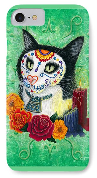 IPhone Case featuring the painting Day Of The Dead Cat Candles - Sugar Skull Cat by Carrie Hawks