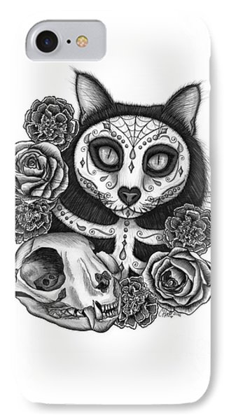 IPhone Case featuring the drawing Day Of The Dead Cat Skull - Sugar Skull Cat by Carrie Hawks