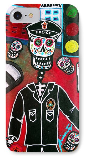 IPhone Case featuring the painting Day Of The Dead Policeman by Pristine Cartera Turkus