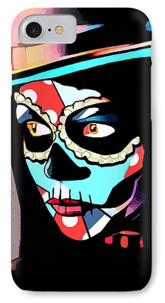 Day Of The Dead Skull Woman Wearing Top Hat IPhone Case
