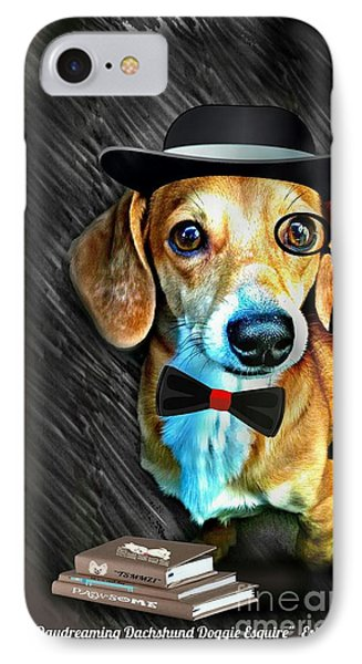 Daydreaming Dachshund Doggie Esquire IPhone Case by PrettTea Art Gallery By Teaya Simms