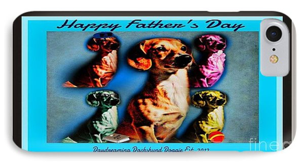 Daydreaming Dachshund Doggie Father's Day IPhone Case by PrettTea Art Gallery By Teaya Simms