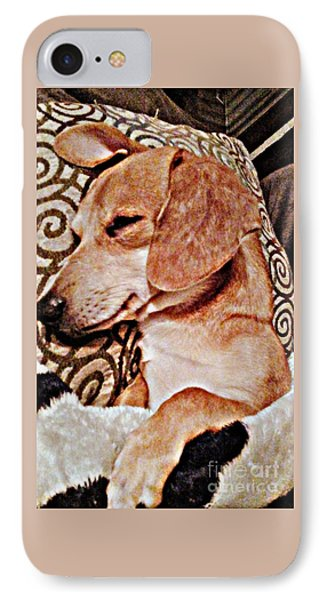 Daydreaming Dachshund Doggie In/ Puppy Slumber IPhone Case by PrettTea Art Gallery By Teaya Simms