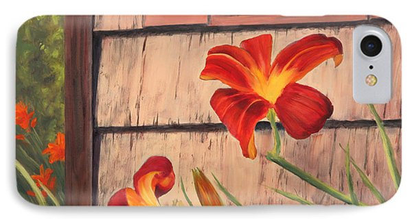 Daylilies At The Shed Phone Case by Elaine Farmer