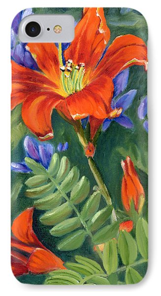 IPhone Case featuring the painting Daylilies by Renate Nadi Wesley