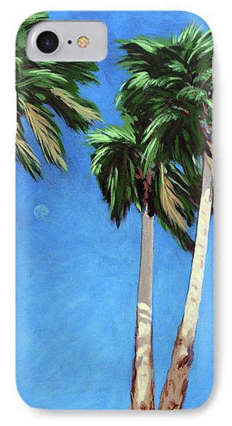 IPhone Case featuring the painting Daytime Moon In Palm Springs by Linda Apple