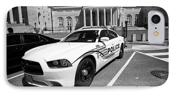 dc police car in front of District of Columbia City Hall now the court of appeals judiciary square W IPhone Case by Joe Fox