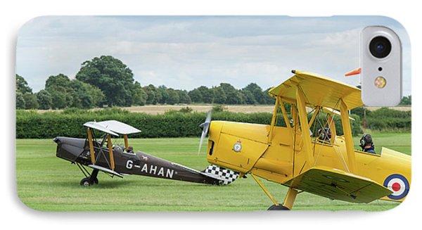 IPhone Case featuring the photograph De Havilland Tiger Moths Taxiing by Gary Eason