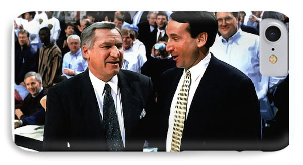 Dean Smith And Mike Krzyzewski IPhone Case by Brian Reaves
