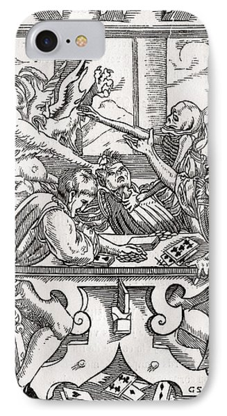 Death And The Devil Come For The Card IPhone Case by Vintage Design Pics