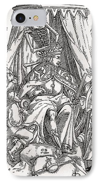 Death Comes For The Emperor Woodcut By IPhone Case by Vintage Design Pics