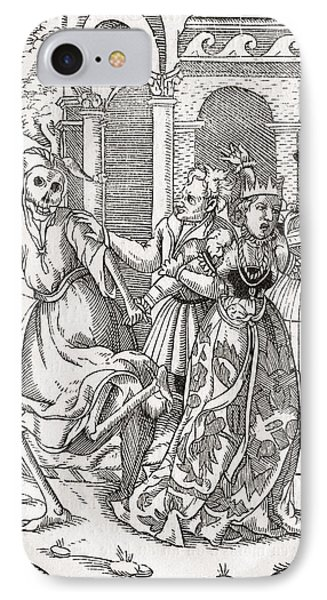 Death Comes For The Queen Woodcut By IPhone Case by Vintage Design Pics