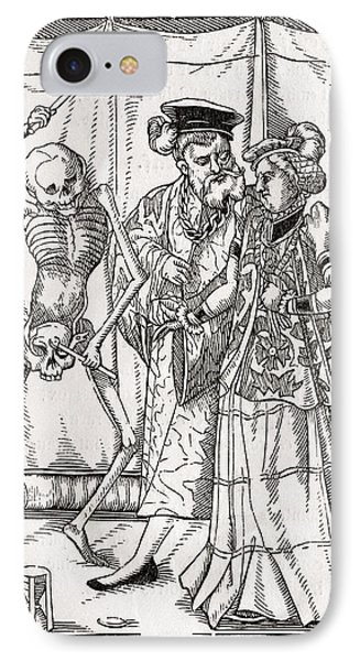 Death Comes To The Duchess Woodcut By IPhone Case by Vintage Design Pics