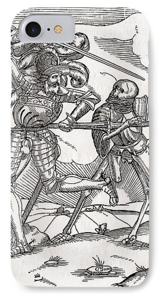 Death Comes To The Knight Or Count IPhone Case by Vintage Design Pics