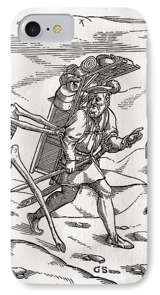 Death Comes To The Pedlar Woodcut By IPhone Case by Vintage Design Pics