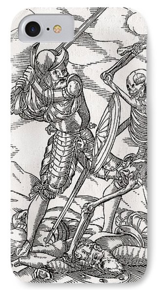 Death Comes To The Soldier Woodcut By IPhone Case by Vintage Design Pics