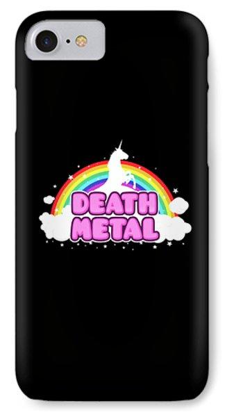 Death Metal Funny Unicorn  Rainbow Mosh Parody Design IPhone Case by Philipp Rietz