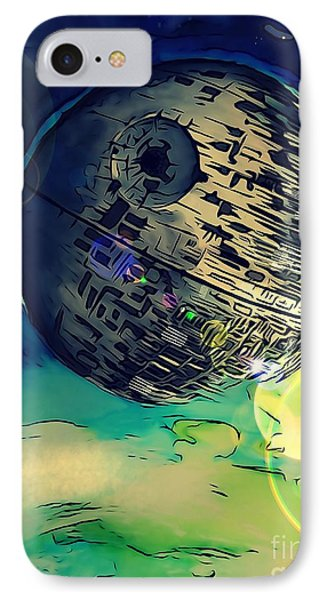 Death Star Illustration  IPhone Case by Justin Moore