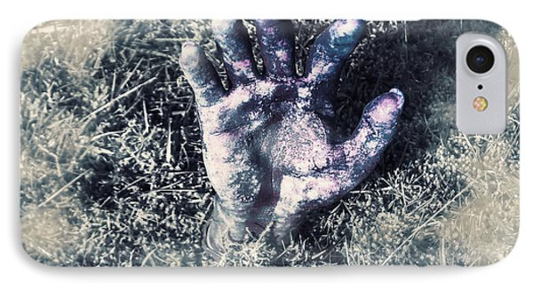 Decaying Zombie Hand Emerging From Ground IPhone Case by Jorgo Photography - Wall Art Gallery