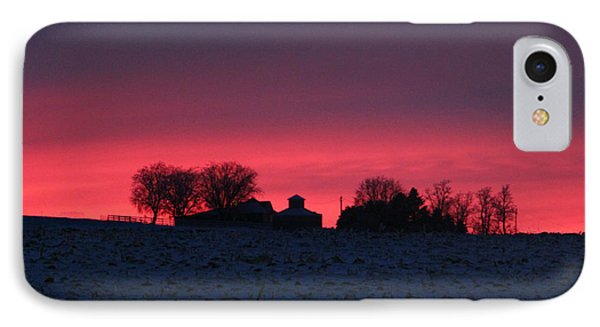 December Farm Sunset IPhone Case by Kathy M Krause