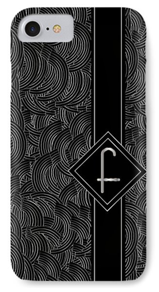 Deco Jazz Swing Monogram ...letter F IPhone Case by Cecely Bloom