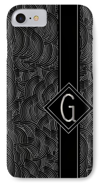 Deco Jazz Swing Monogram ...letter G IPhone Case by Cecely Bloom