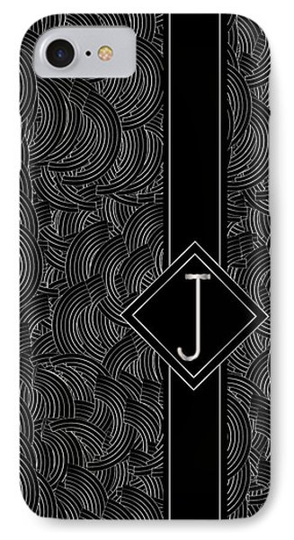 Deco Jazz Swing Monogram ...letter J IPhone Case by Cecely Bloom