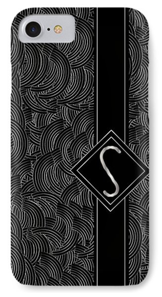 Deco Jazz Swing Monogram ...letter S IPhone Case by Cecely Bloom