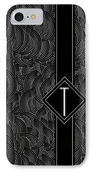 Deco Jazz Swing Monogram ...letter T IPhone Case by Cecely Bloom