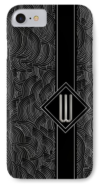 Deco Jazz Swing Monogram ...letter W IPhone Case by Cecely Bloom