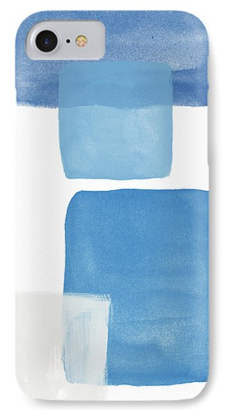 Deconstructed Blue Gingham 1- Art By Linda Woods IPhone Case by Linda Woods