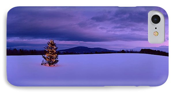 Decorated Christmas Tree In A Snow IPhone Case by Panoramic Images