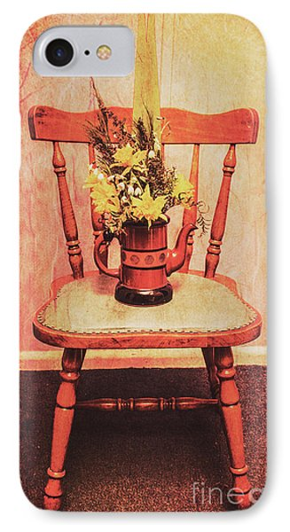 Decorated Flower Bunch On Old Wooden Chair IPhone Case by Jorgo Photography - Wall Art Gallery
