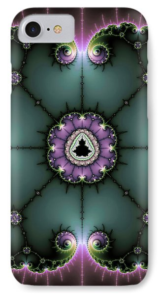 IPhone Case featuring the digital art Decorative Fractal Art Purple And Green by Matthias Hauser