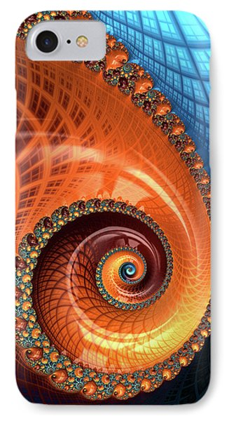 IPhone Case featuring the digital art Decorative Fractal Spiral Orange Coral Blue by Matthias Hauser
