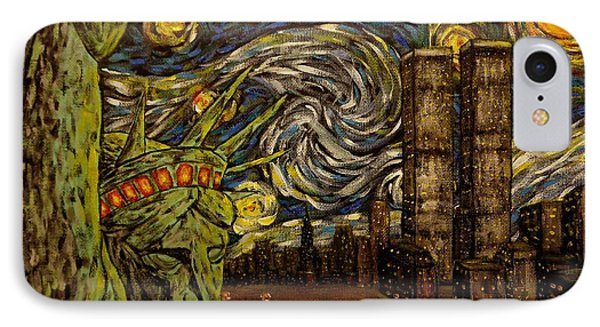 Dedication To Van Gogh Nyc Starry Night Twin Towers The True Towers IPhone Case by Jack Lepper