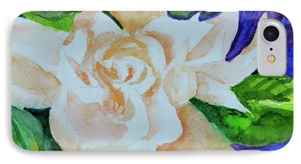 IPhone Case featuring the painting Deep Gardenia by Beverley Harper Tinsley