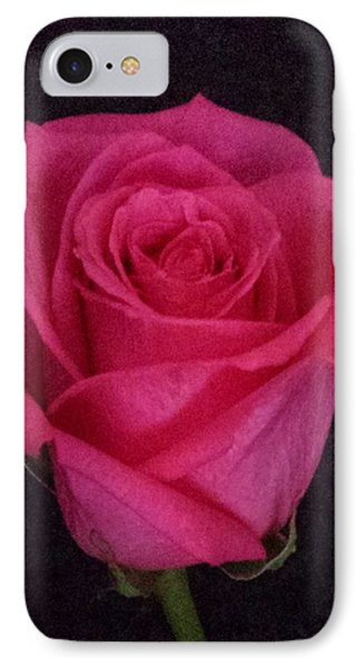 Deep Pink Rose On Black IPhone Case by Karen J Shine